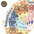 Detail euro money and italian coin — Stock Photo