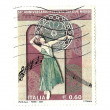 Italian stamp commemorating the 50 anniversary of the Festival o — Stock Photo