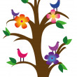 Royalty-Free Stock Vektorfiler: Vector drawing of a tree with birds