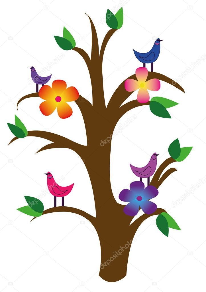 Vector drawing of the tree with flowers and birds — Stock Vector #10573423
