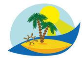 A desert island - vector image — Stock Vector