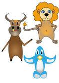 Children's drawings of animals — Stock Vector