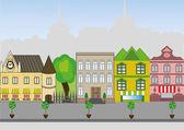 An old European city street — Stock Vector