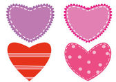Applique hearts drawing — Stock Vector
