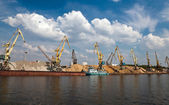 Cranes downloaded sand barge — Stock Photo