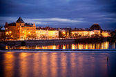 View from Charles Bridge, Prague by night. — Stock Photo