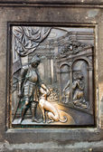 The bas-relief on the Charles Bridge in Prague — Stock Photo