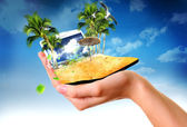 Human hand holding summer sea landscape — Stock Photo