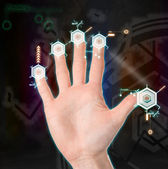 Hand holding hi-tech texture — Stock Photo