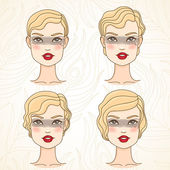 Retro hairstyle (short) — Stock Vector