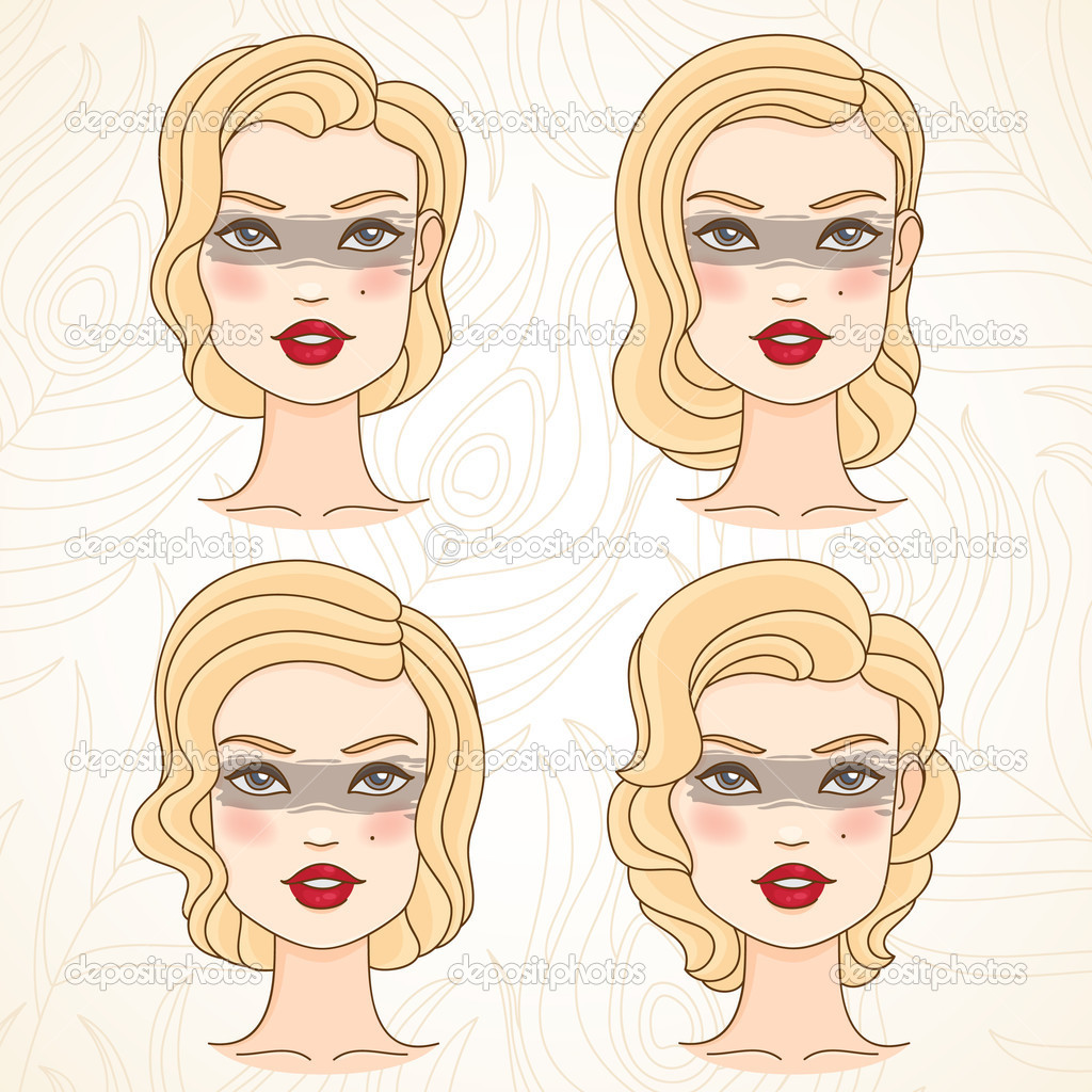 Female face and retro hairstyle. Hand drawn style.  Stock Vector #10541934