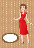 Retro card with girl in red — Stock Vector