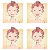 Faces types — Stock Vector