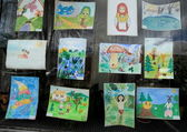 Exhibition of children's pictures — Stock Photo