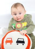 Overtaking is forbidden on the pillow of the child — Stock Photo