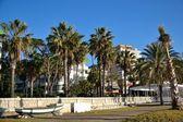 Malaguetta beach with buildings — Stock Photo