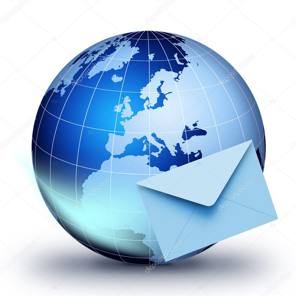 Global e-mail technology. Internet and e-mail concept. Global communication. — Stock Photo #8592531