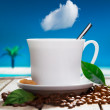 Freshly brewed coffee at a tropical resort — Stock Photo