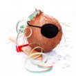 Coconut with an eyepatch - Stock Photo