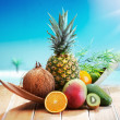 Fresh Fruits on the beach — Stock Photo