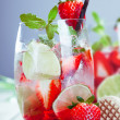Ripe red strawberry cocktail — Stock Photo
