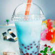 Bubble tea with berries - Stock Photo