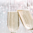 Skoal, champagne glasses - Stock Photo