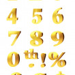 Gold Numbers And Currency Symbols — Stock Photo