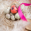 Easter Eggs In A Nest - Stock Photo