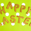Happy Easter Card On green fabric — Stock Photo