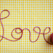 Love Script in Crochet Yarn — Stock Photo