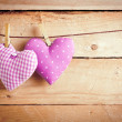 Two Hearts Hanging On Line — Stock Photo