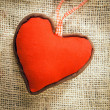 Heart on a textile background — Stock Photo