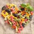 Colorful Bowtie Pasta Heart — Stock Photo