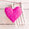 Romantic Heart On snowy Boards — Stock Photo