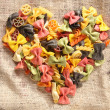 Colorful Bowtie Pasta Heart — Photo