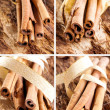 Bunch of cinnamon sticks as a collage — Stock Photo