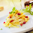 Serving Of Spaghetti Carbonara - Stock Photo