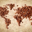 World Map Of Coffee Beans — Stock Photo