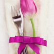 Napkin with tulip Flower — Stock Photo