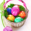Colourful Marbles Easter Eggs - Stock Photo