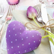 Delicate Romantic Table Setting - Stock Photo