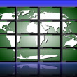 World on monitors - Stock Photo