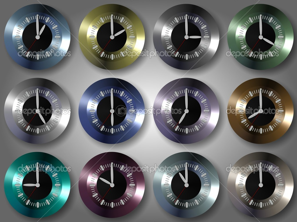 Group of shiny colorful clocks showing different times  Stock Photo #10590869