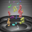 Music notes and speakers — Stock Photo #8449911