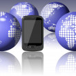 World around mobile phone — Stock Photo