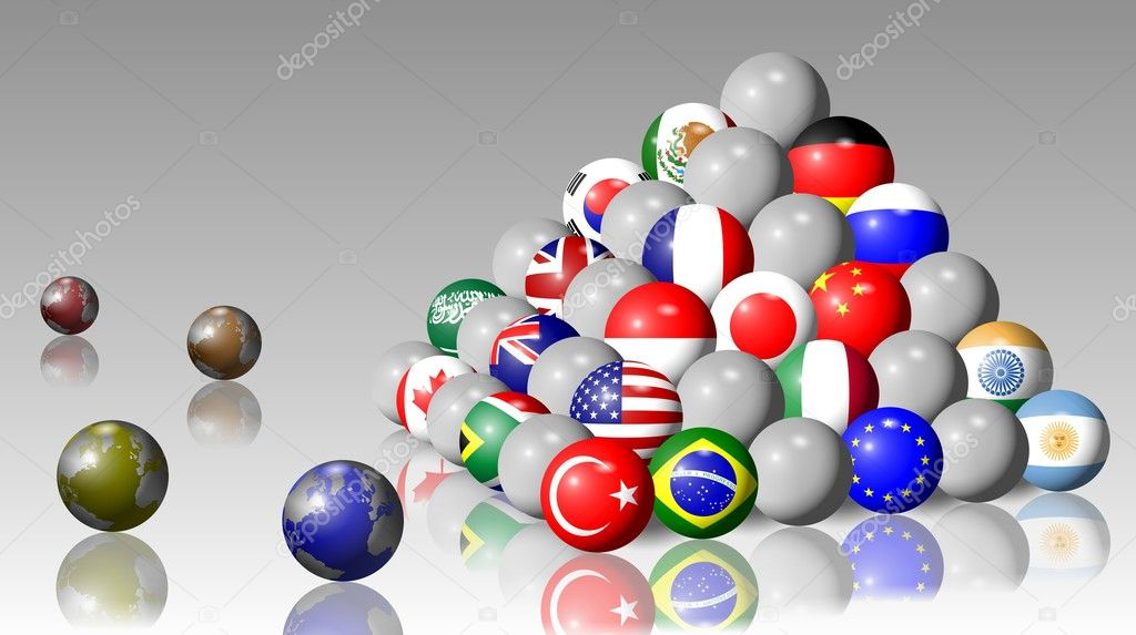 Flags of G20 members shaped as balls and forming a pyramid — Stock Photo #8449118