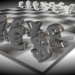 Money chess - Stok fotoğraf