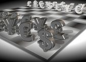 Money chess — Stockfoto