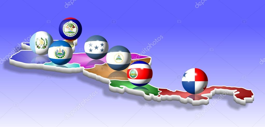 A map of seven Central American countries with their flags shaped as balls — Stock Photo #8466181